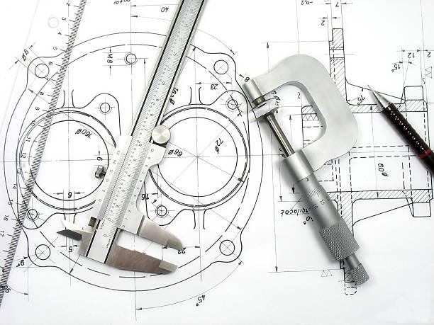 technische tools auf technische zeichnung - produktdesigner stock-fotos und bilder