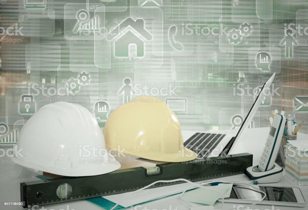Engineering tools on virtual background stock photo