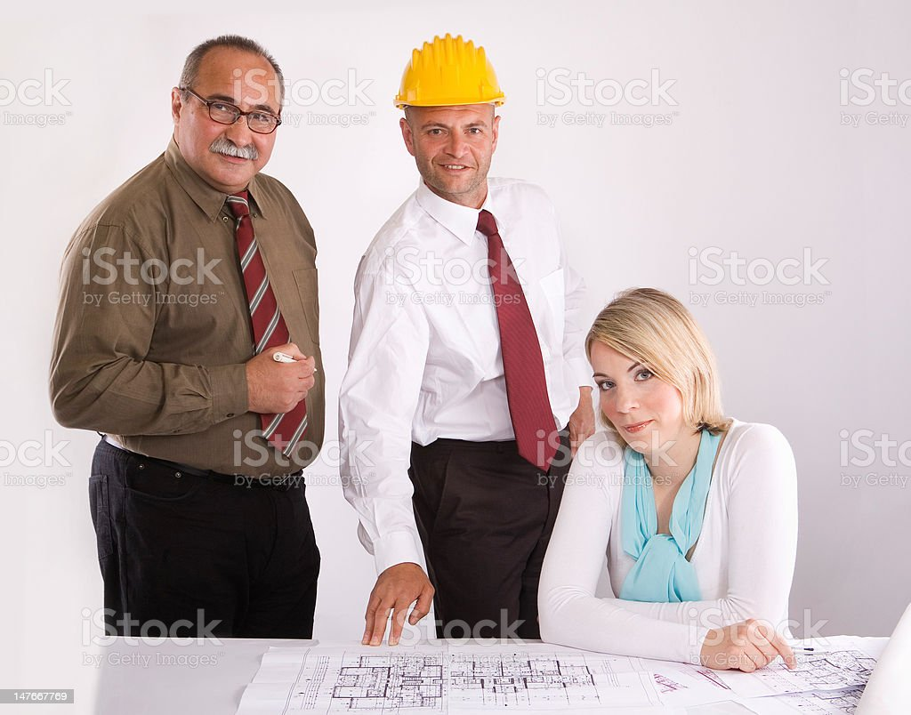 engineers at the meeting royalty-free stock photo