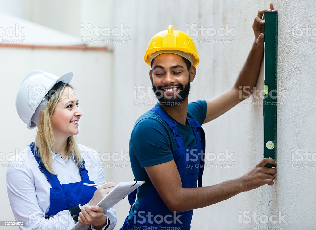 Engineers at the work stock photo