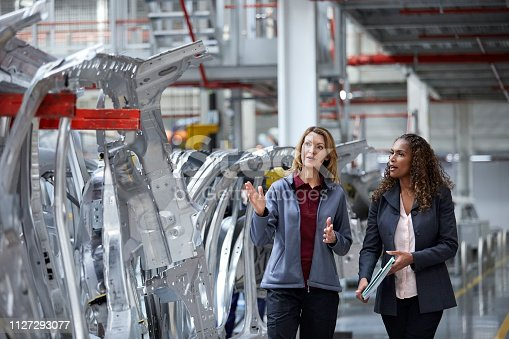istock Engineers discussing over car chassis in factory 1127293077