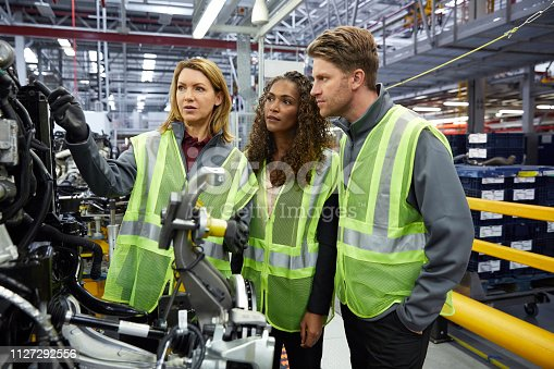 Confident engineers discussing over car part in factory. Male and female colleagues are wearing reflective clothing. Professionals are working in car plant.