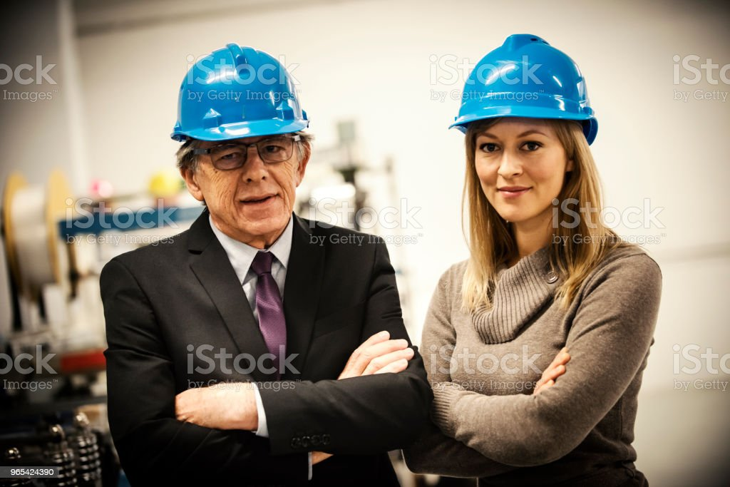Engineers in a factory royalty-free stock photo
