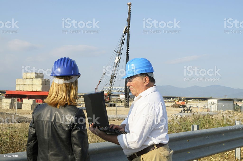 Engineers in a Highway Construction Site stock photo