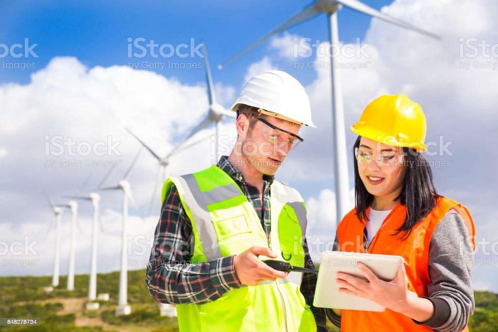 Engineers of wind turbine stock photo