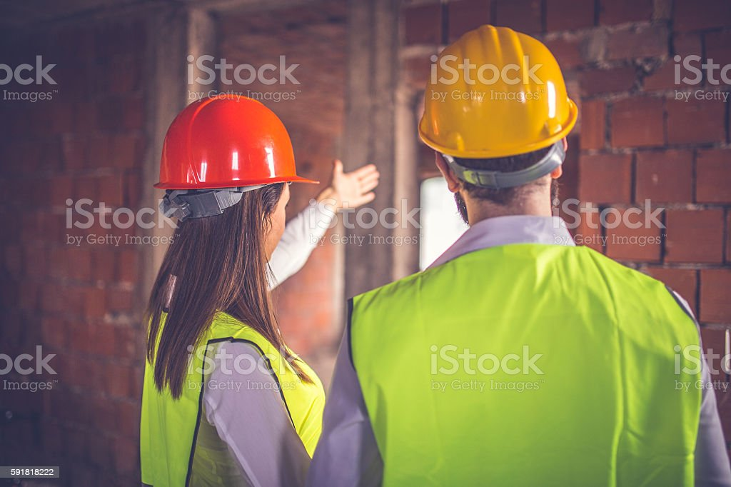 Engineers working hard stock photo