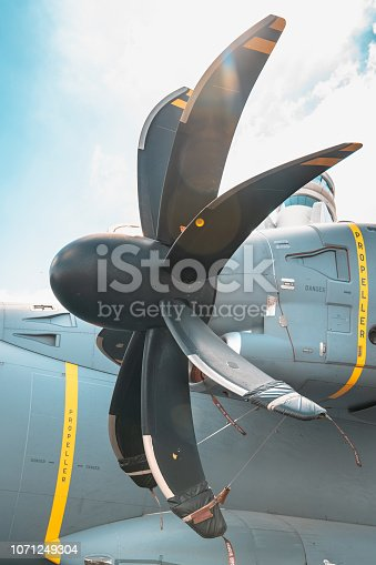 istock Engines of military transport aircraft close-up 1071249304