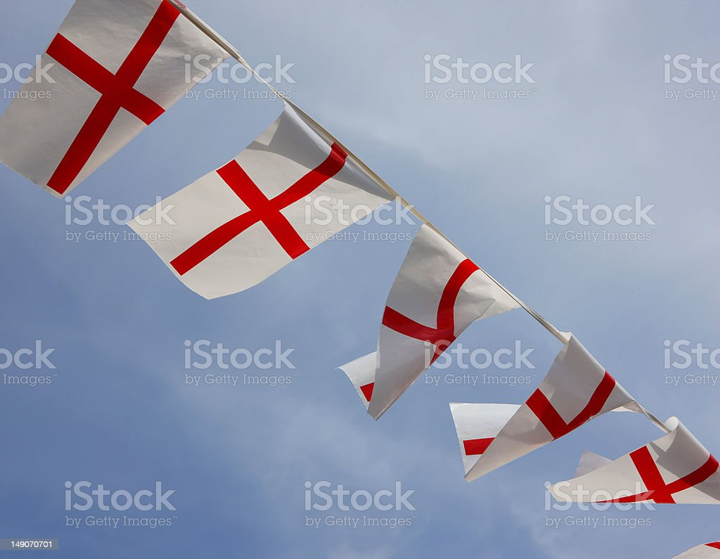 England Bunting Flags royalty-free stock photo