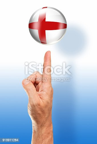 istock England button english flag pointing with human hand 915911284