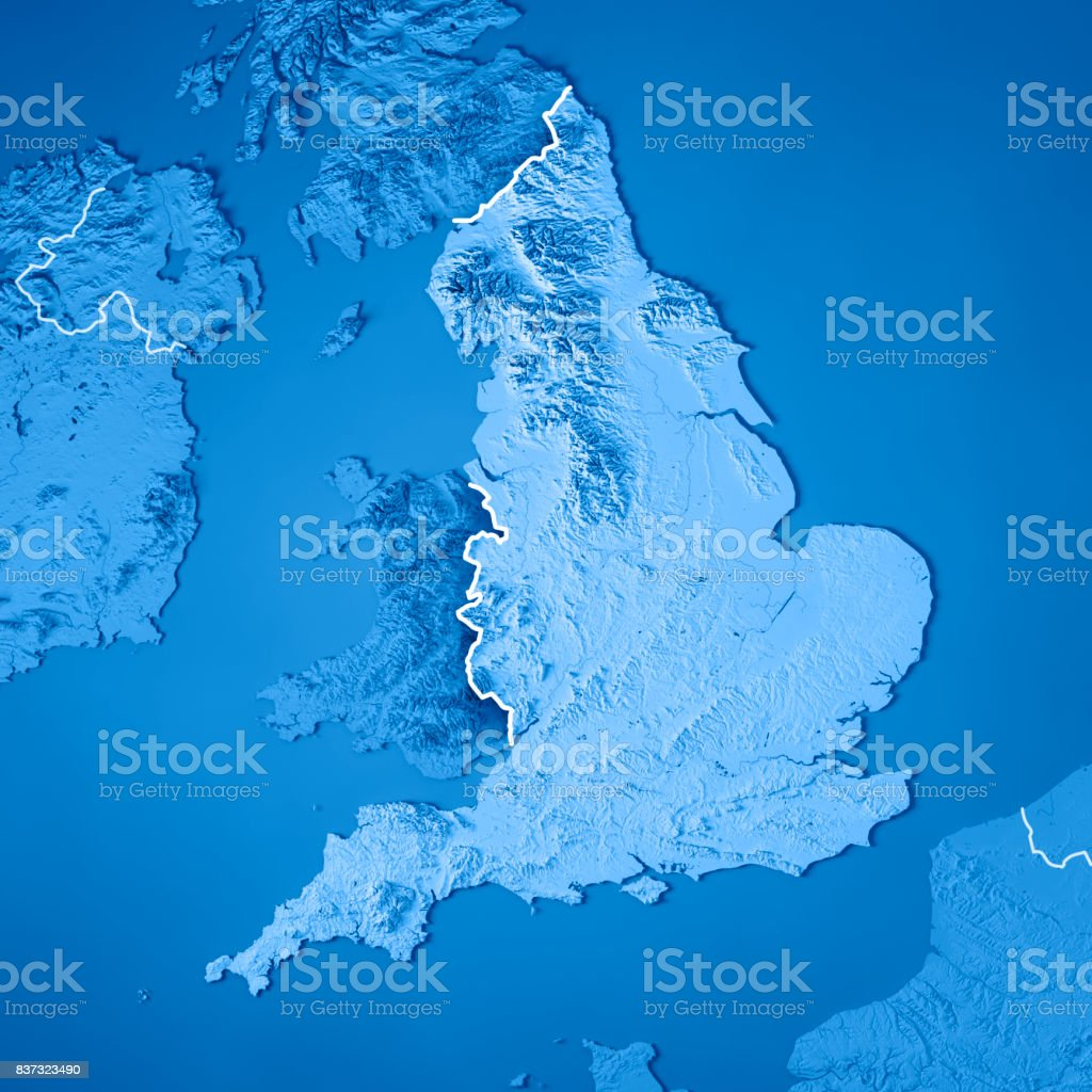 England Country 3D Render Topographic Map Blue Border stock photo