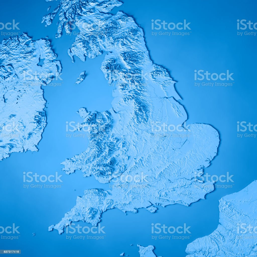 England Country 3D Render Topographic Map Blue stock photo