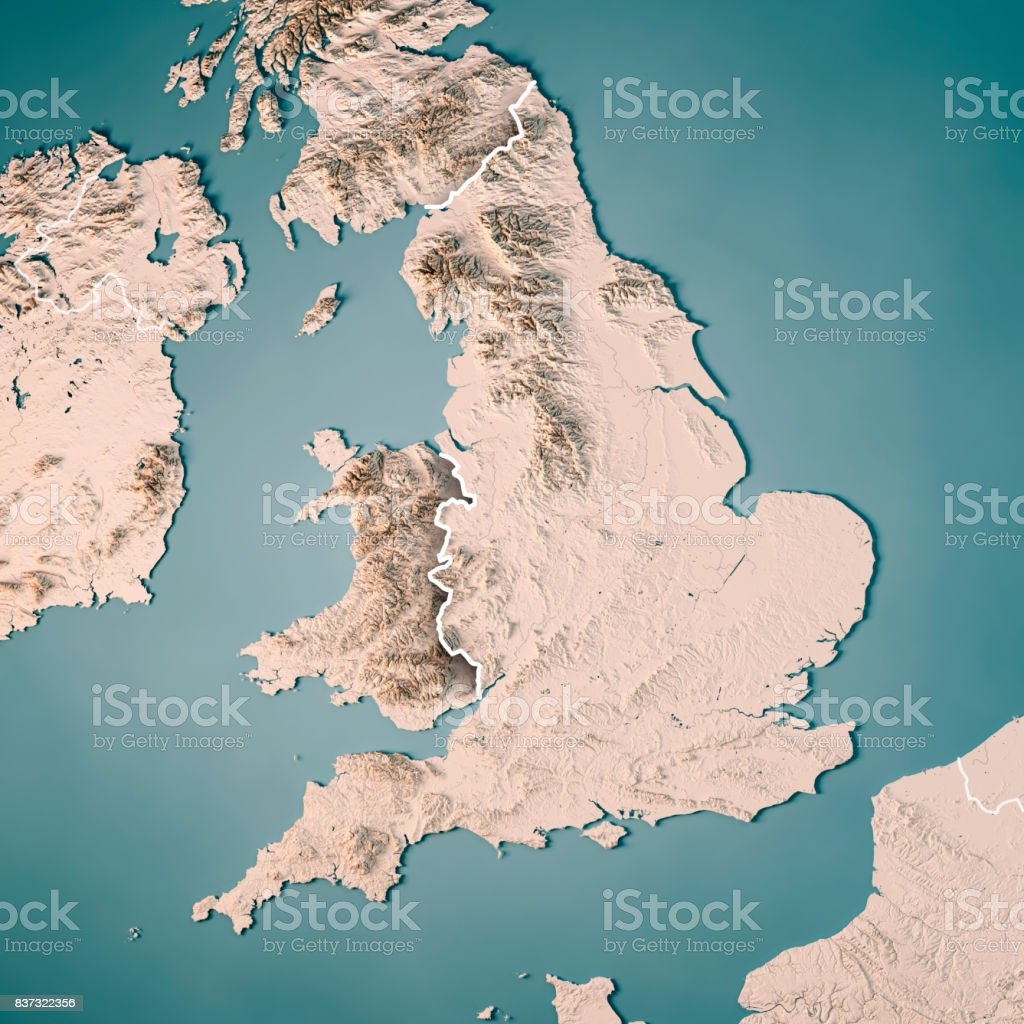 England Country 3d Render Topographic Map Neutral Border Stock