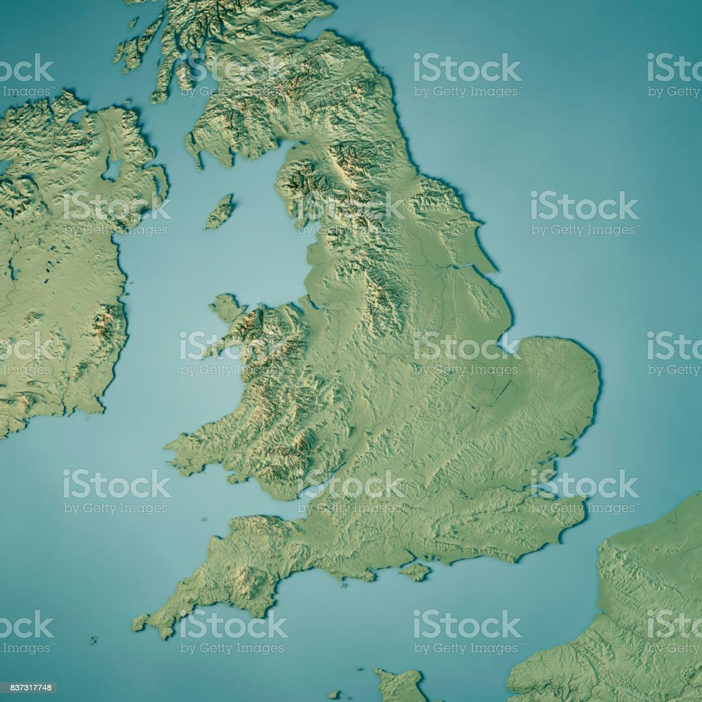 England Country 3D Render Topographic Map stock photo