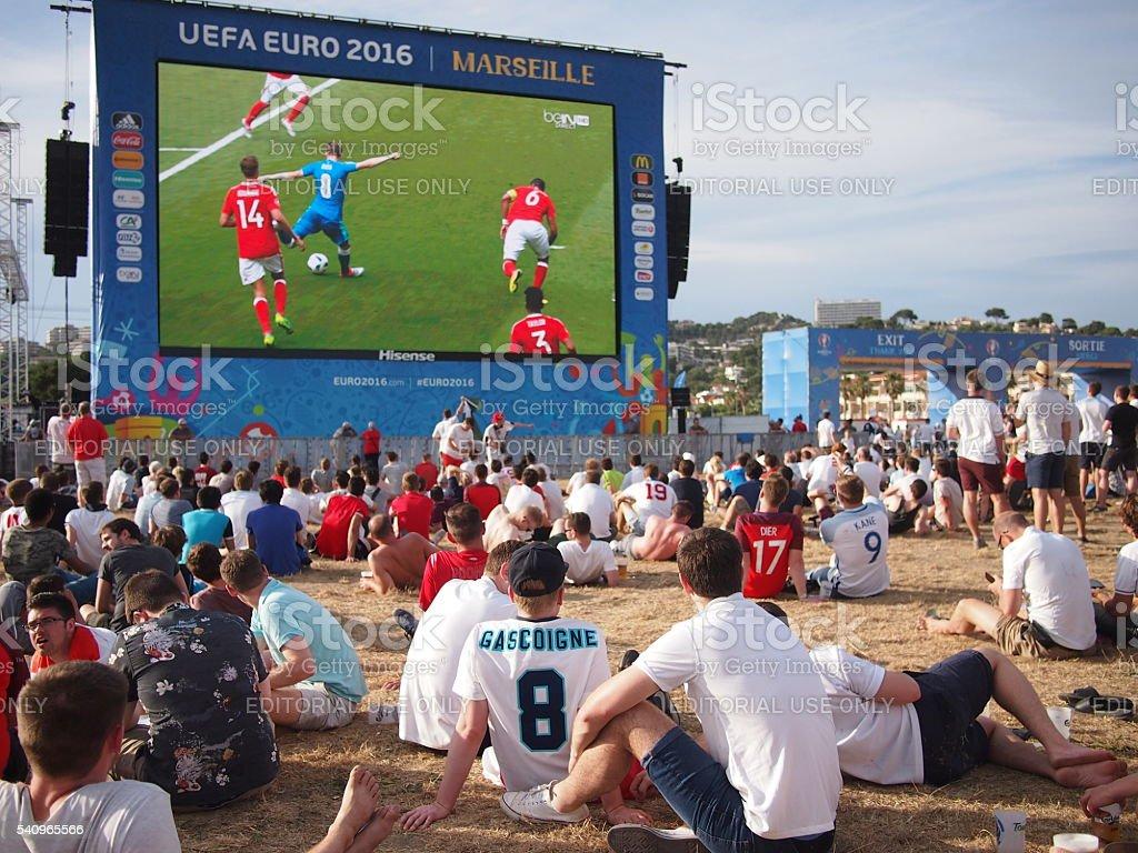 England fans in Marseille fan zone stock photo