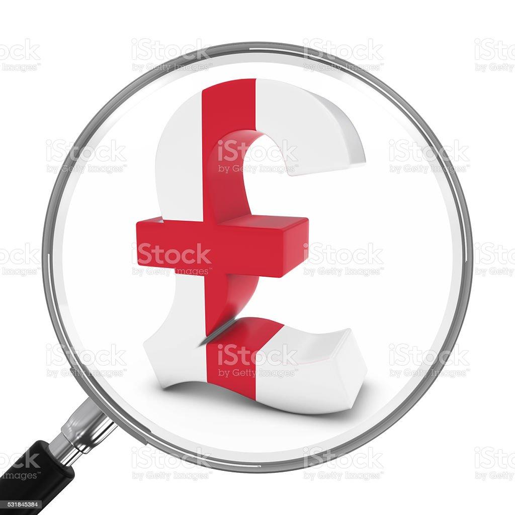 England Finance Concept English Pound Symbol Under Magnifying Glass