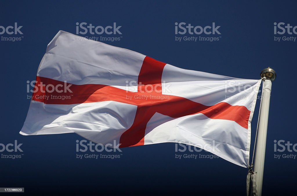 England Flag of St George Waving in Blue Sky Wind stock photo