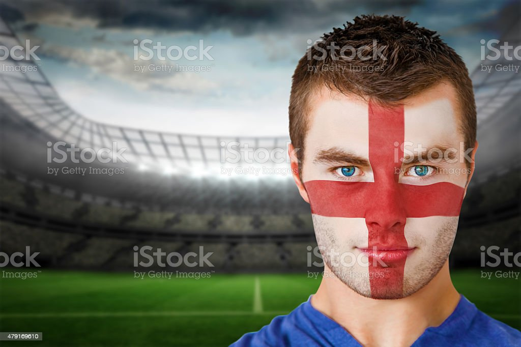 England football fan in face paint stock photo