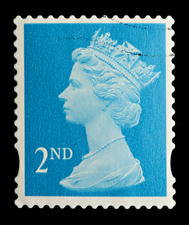 Exeter, United Kingdom - February 14, 2010: An English Used Second Class Postage Stamp showing Portrait of Queen Elizabeth 2nd, printed and issued between 1993 and 2005