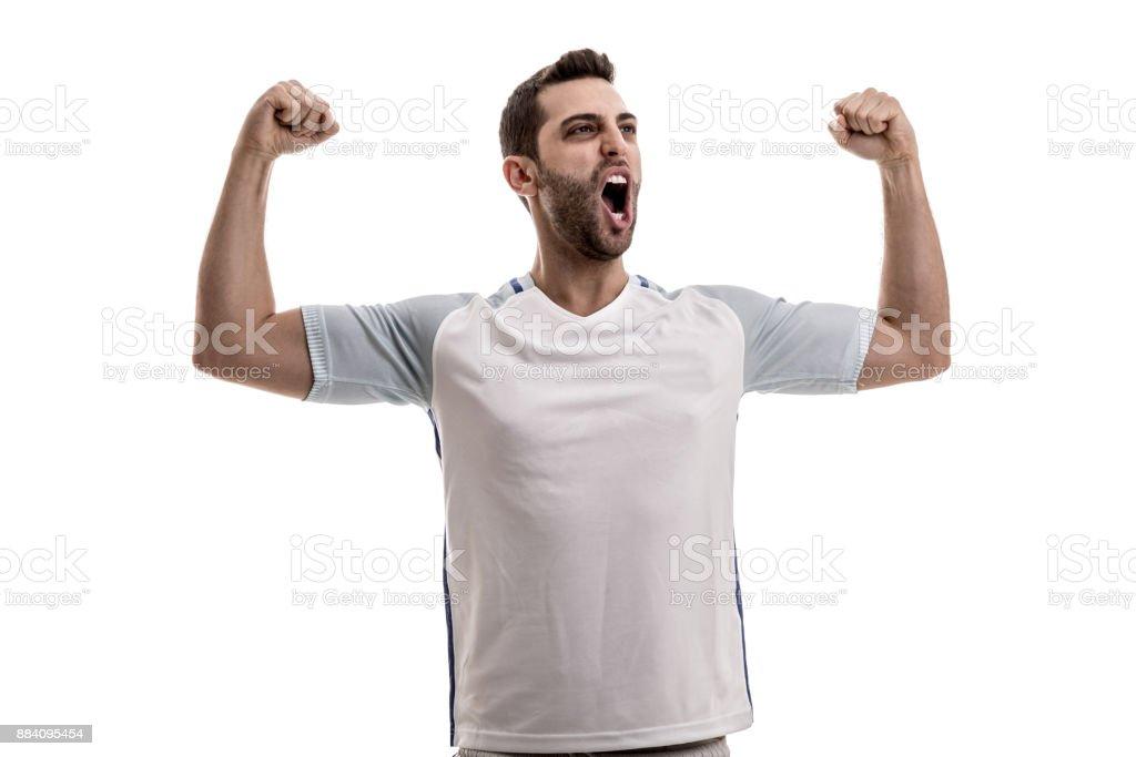 England Soccer fan celebrating stock photo