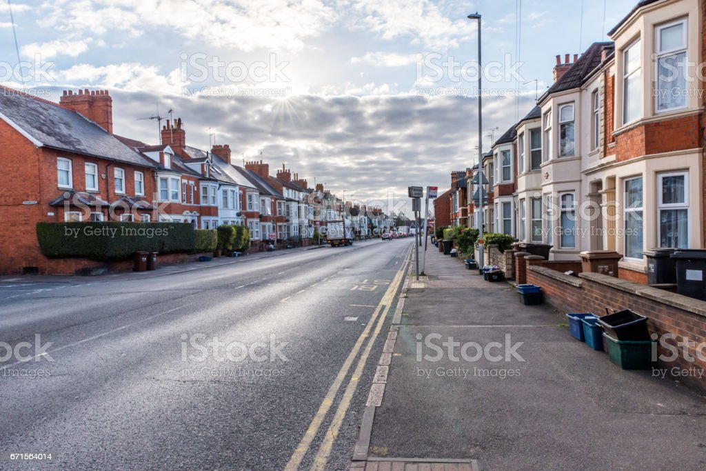 England street sunset morning view Northampton UK stock photo