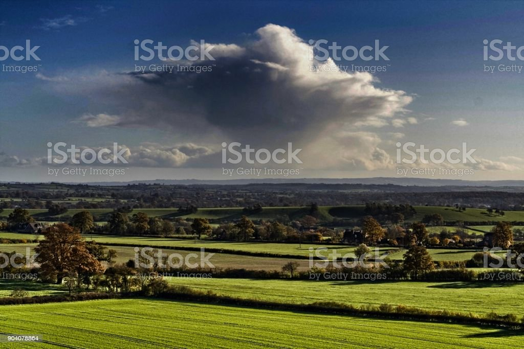 england the midlands worcestershire the view from st mary the virgin church hanbury village over countryside. this is the setting for the village of ambridge featured in the radio serial the archers stock photo