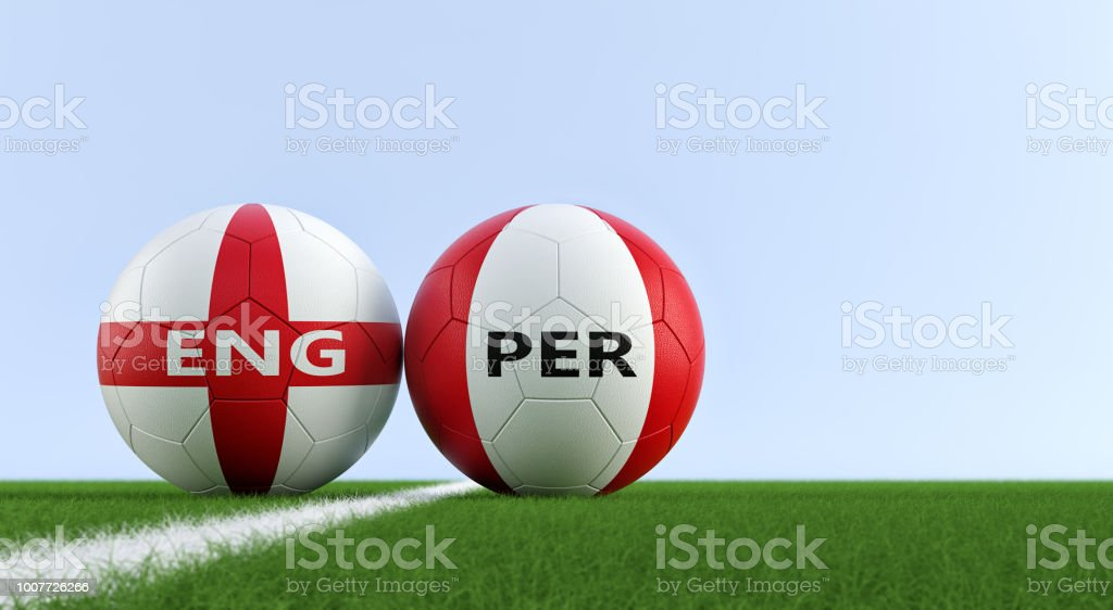 England vs. Peru Soccer Match - Soccer balls in England and Peru national colors on a soccer field. Copy space on the right side - 3D Rendering stock photo