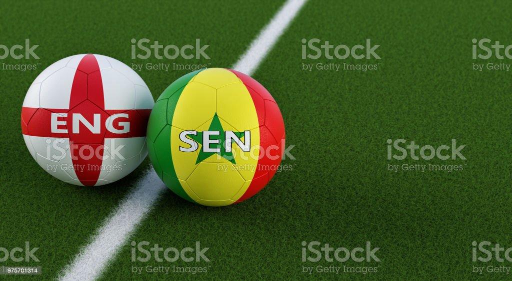 Inglaterra vs Senegal partida de futebol - bolas de futebol em cores nacionais Englands e Senegals em um campo de futebol. Cópia espaço no lado direito - 3D Rendering - foto de acervo