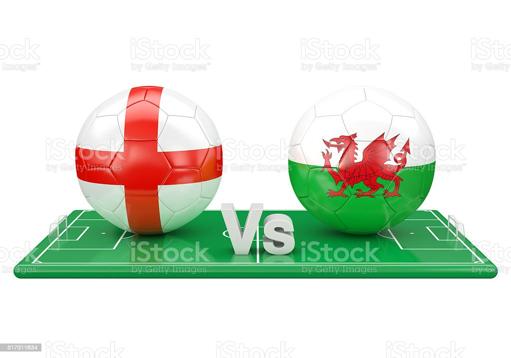 England / Wales soccer game stock photo