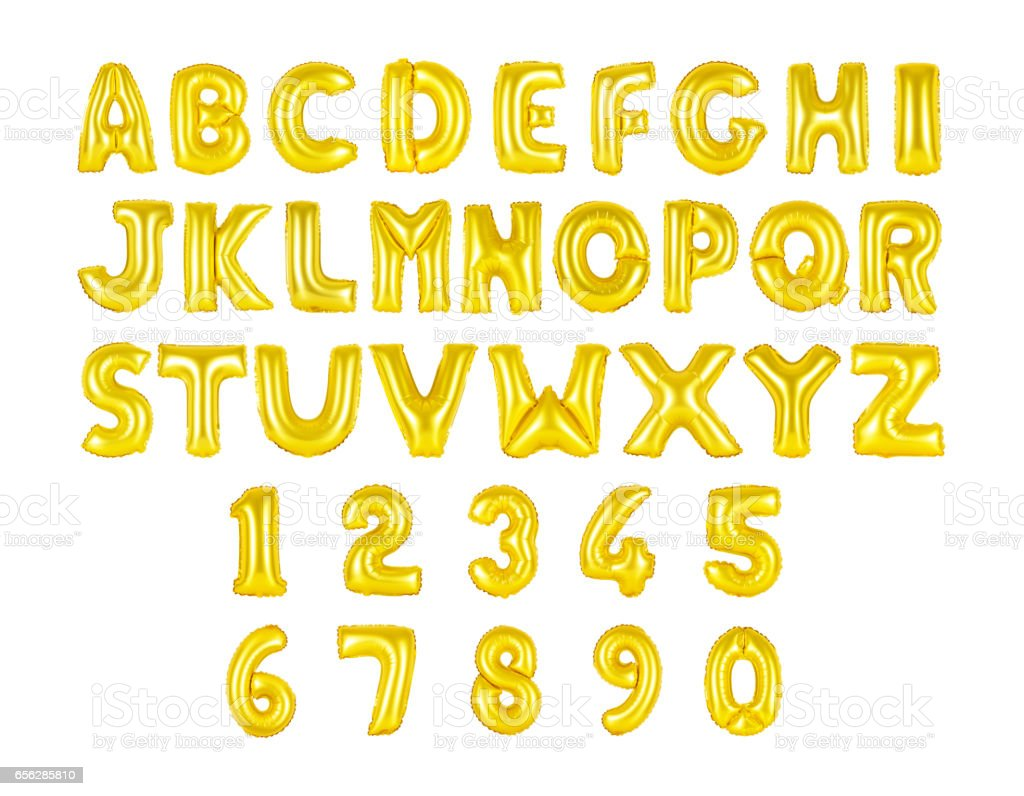 English alphabet and numerals golden color stock photo