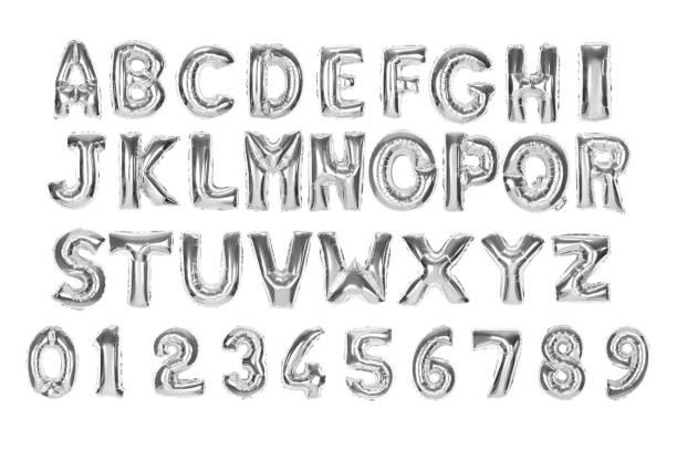 english alphabet and numerals - alfabeto foto e immagini stock