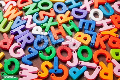 185257431 istock photo English alphabet blocks placed randomly 1190603507