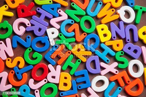 185257431 istock photo English alphabet blocks placed randomly 1190603593