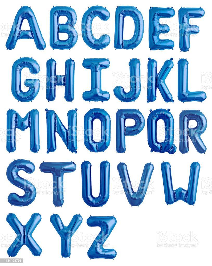 Engelskt alfabet från blått glänsande ballonger - Royaltyfri Alfabet Bildbanksbilder