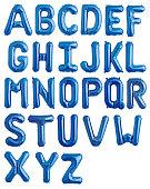 English alphabet from blue shiny balloons