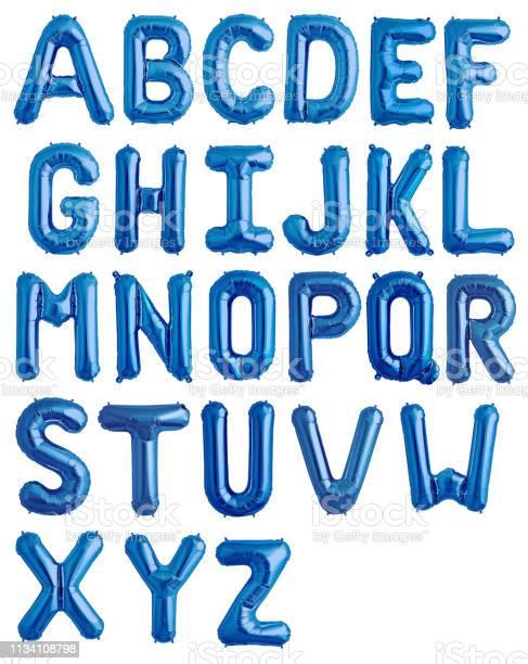 Engelskt Alfabet Från Blått Glänsande Ballonger-foton och fler bilder på Alfabet