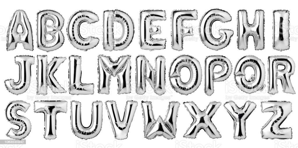 English alphabet from silver balloons stock photo