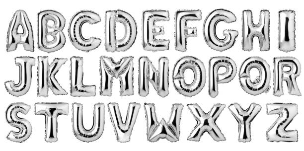 English alphabet from silver balloons stock photo