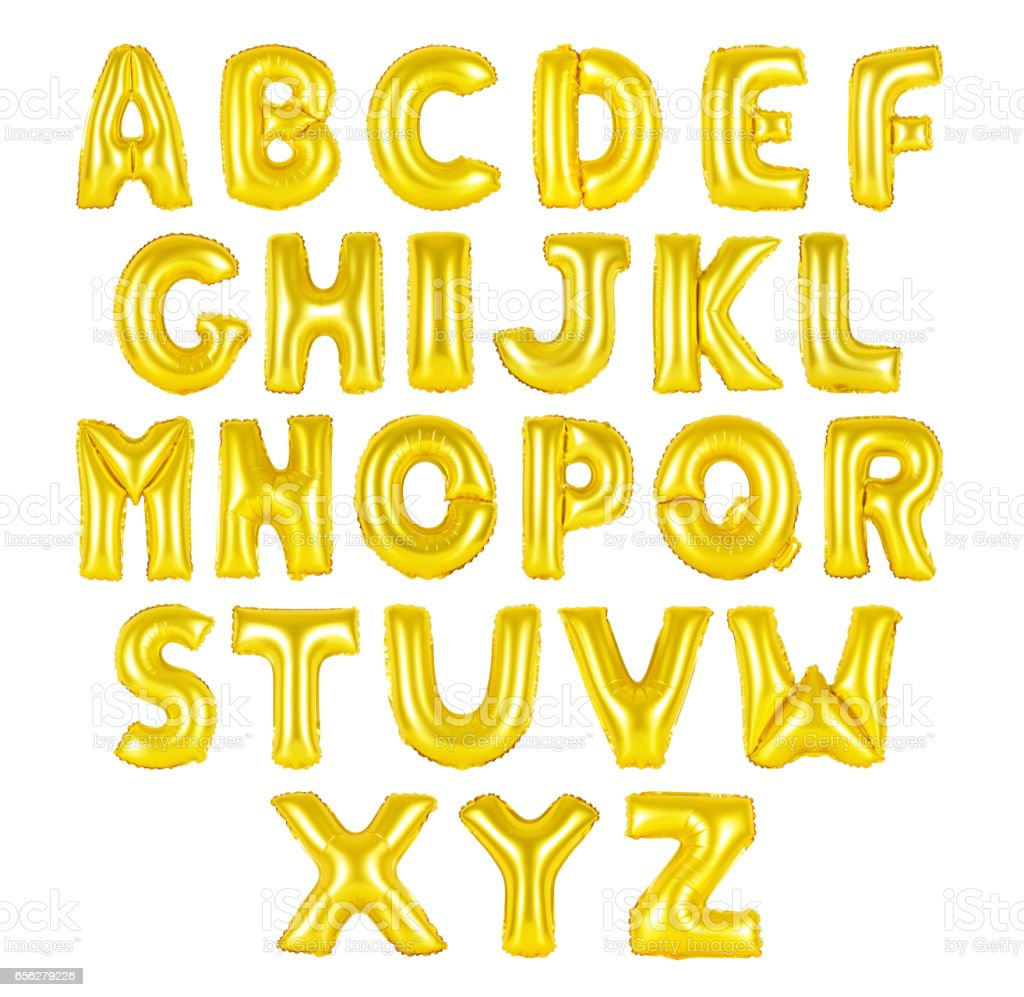 English alphabet golden color bildbanksfoto