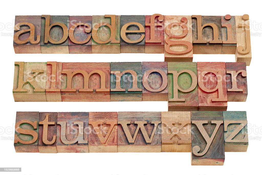 English alphabet in wood letterpress type stock photo