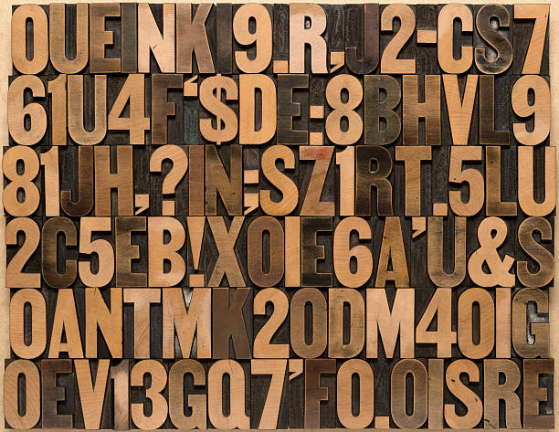 english alphabet in wood type - letterpress stock photos and pictures