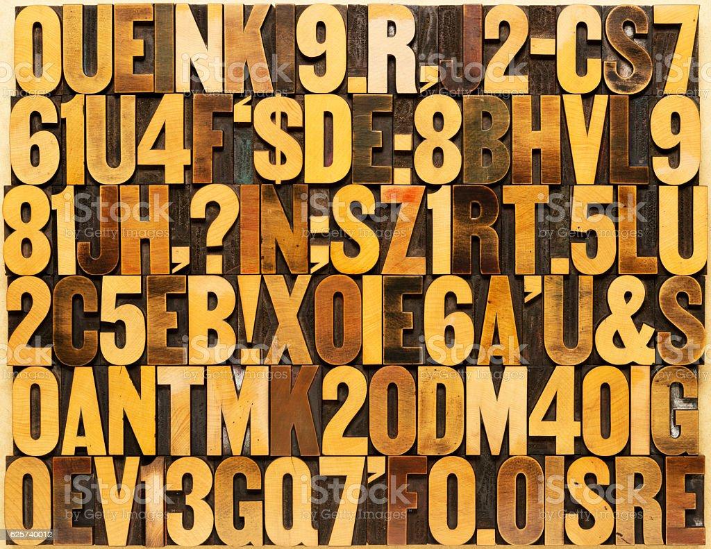 English alphabet in wood type stock photo