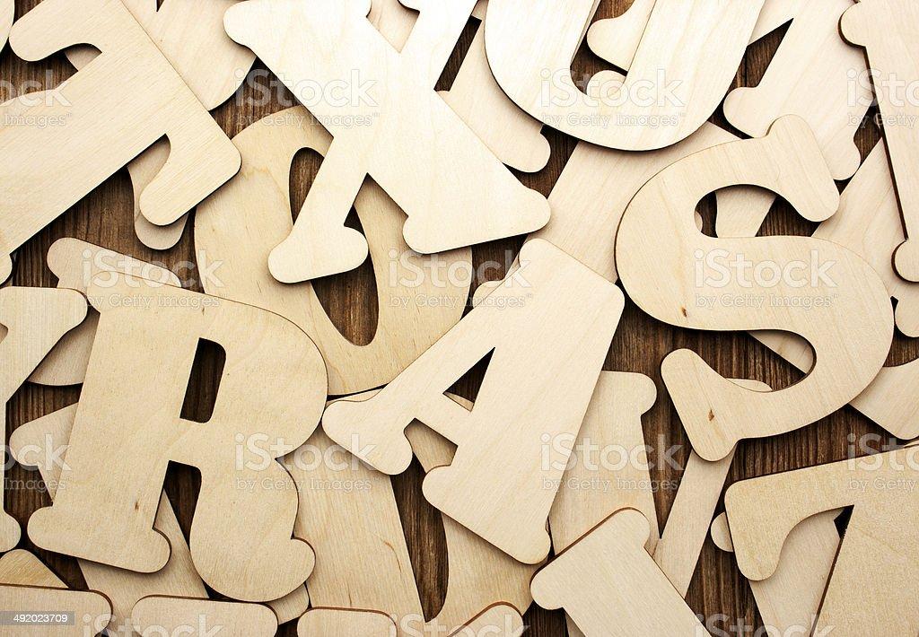 English alphabet (upper case) on vintage wood background stock photo