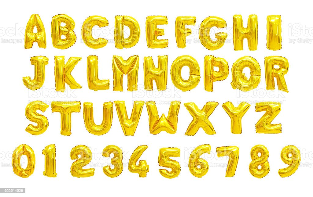 English alphabet yellow