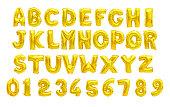 English alphabet yellow