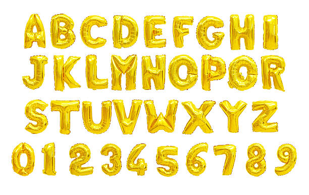 English alphabet yellow stock photo