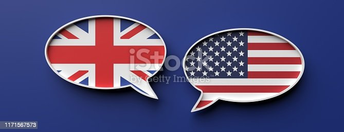 UK and US communication. English and american flag speech bubbles against blue background, banner. 3d illustration