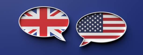Englische und amerikanische Flagge Sprache Blasen vor blauem Hintergrund, Banner. 3D-Illustration – Foto