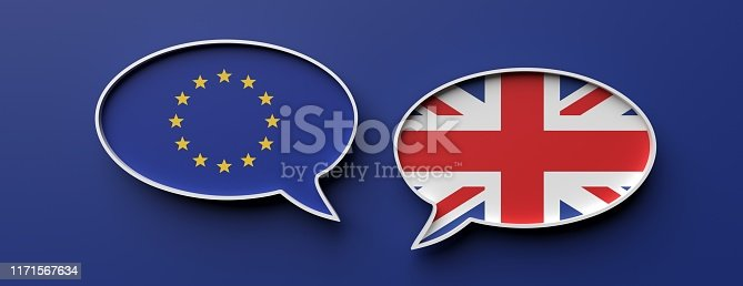 istock English and EU flag speech bubbles against blue background, banner. 3d illustration 1171567634
