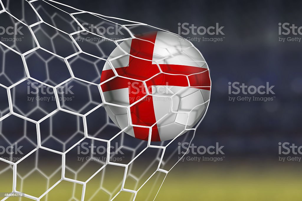 English ball flies into the net game stock photo