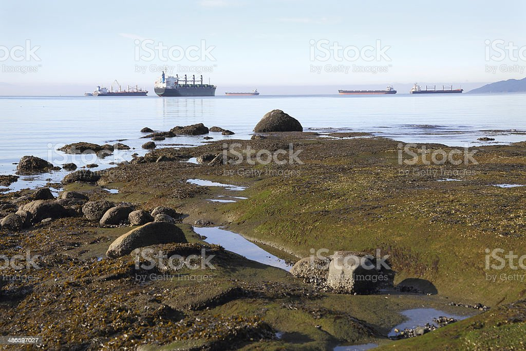English Bay Shore and Freighters horizontal royalty-free stock photo